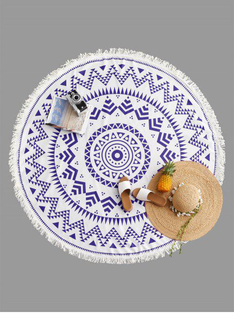 outfits Geometrical Print Fringe Round Beach Blanket - BLUE ONE SIZE Mobile
