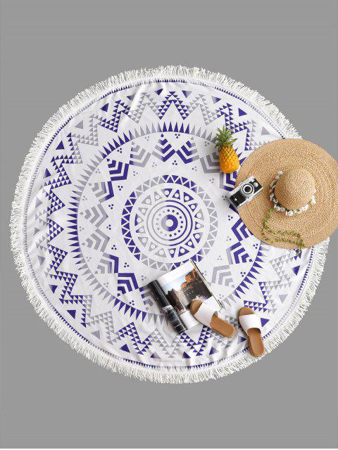 shop Geometrical Print Fringe Round Beach Blanket - GRAY ONE SIZE Mobile