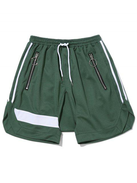 buy Zipper Pocket Drawstring Shorts - GREEN L Mobile