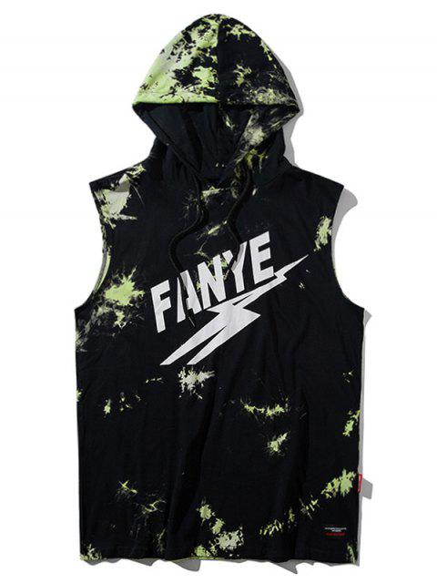 ladies Sleeveless Tie Dyed Hooded Tee - GREEN L Mobile