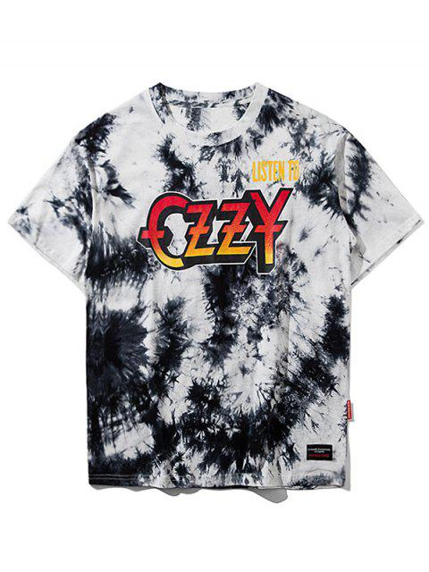 trendy Tie Dyed Short Sleeve T-shirt - GREY WHITE L Mobile