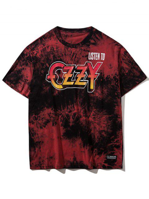 buy Tie Dyed Short Sleeve T-shirt - RED L Mobile