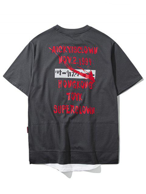 best Overlay Hem Graphic Streetwear Top - GRAY 2XL Mobile