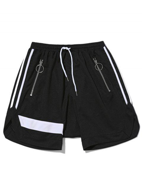 fashion Zipper Pocket Drawstring Shorts - BLACK XL Mobile