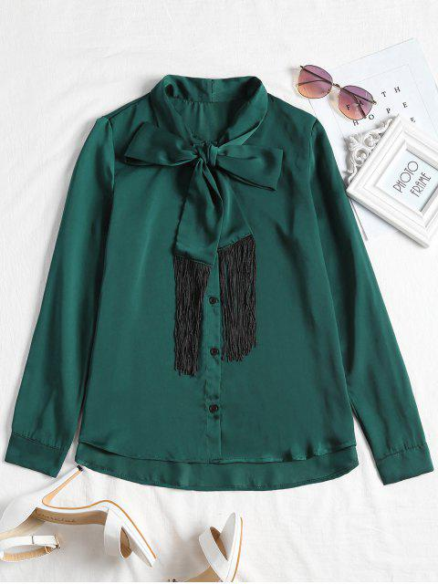 womens Fringed Long Sleeve Bowtie Blouse - BLACKISH GREEN L Mobile