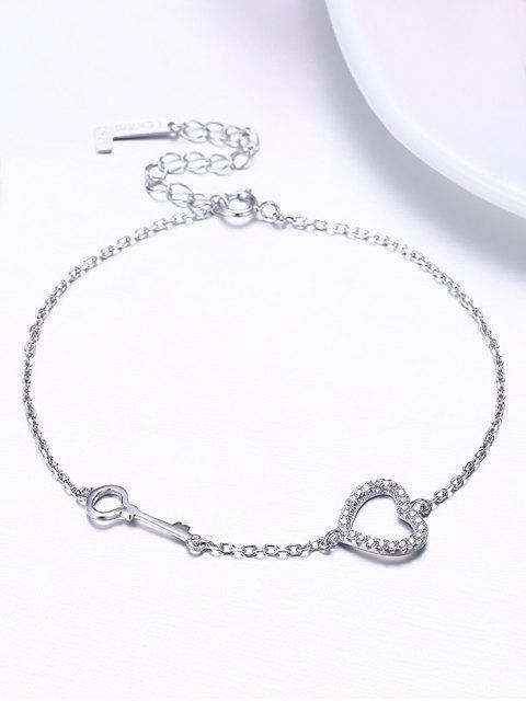 Strass Valentinstag Herz und Schlüssel Armband - Silber  Mobile