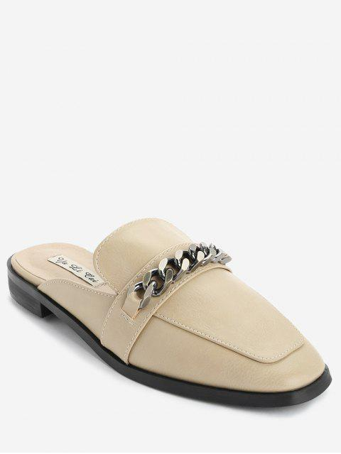 women Curb Chain Mules Shoes - OFF-WHITE 36 Mobile