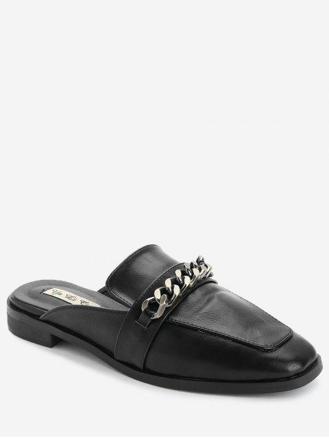 Curb Chain Mules Chaussures - Noir 35 Mobile