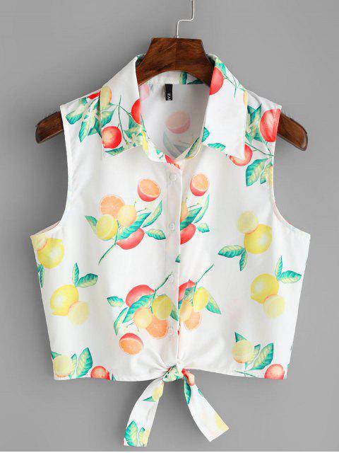hot Fruit Print Tied Hem Sleeveless Shirt - WHITE M Mobile