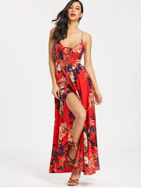 sale Cami Floral Criss Cross Maxi Dress - RED L Mobile