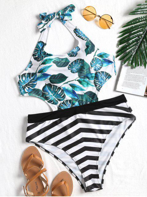 outfits Leaf Striped Plus Size Monokini - COLORMIX 2XL Mobile