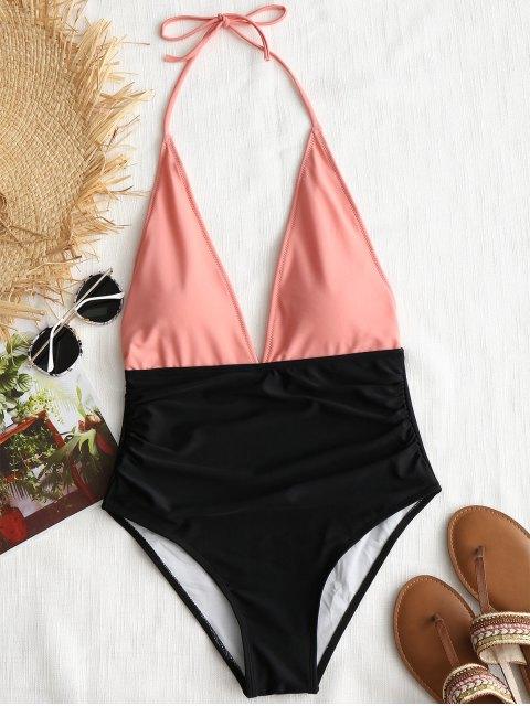 Traje de baño de una pieza de color bloque halter - Naranja Rosa L Mobile
