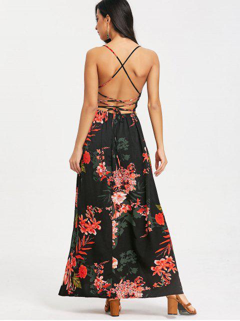 Vestido Floral Maxi Cami com Cruzado - Preto S Mobile