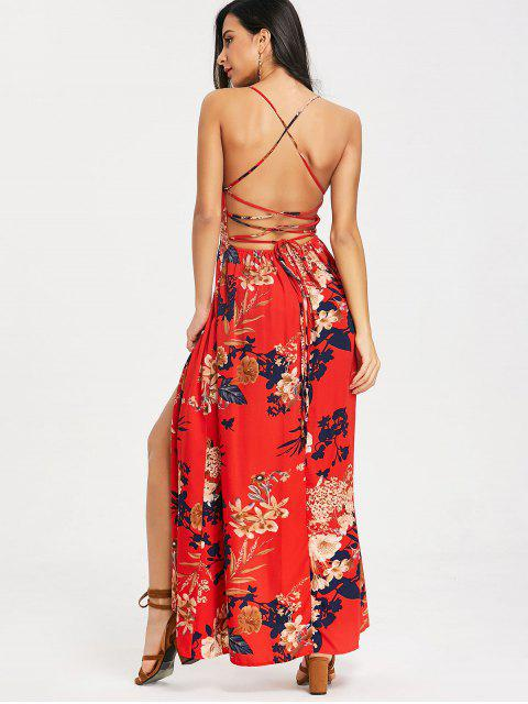 fashion Cami Floral Criss Cross Maxi Dress - RED S Mobile