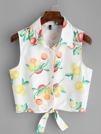 Fruit Print Tied Hem Sleeveless Shirt - White S