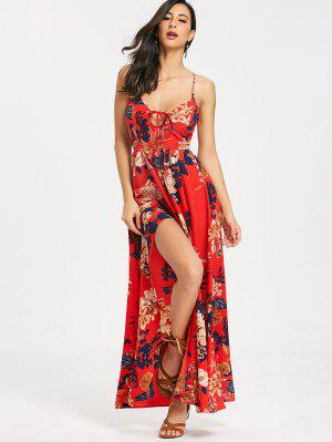 Cami Floral Criss Cross Maxi Dress - Red S