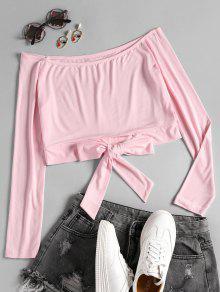 Camiseta Sin Hombros Con Hombros Descubiertos - Rosado S