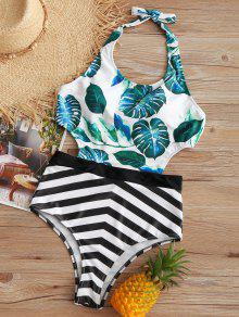 Tropical Leaf Zigzag Monokini - S