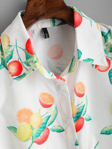 L Sin Blanco Estampado Con Con Frutas Camisa Mangas Dobladillo De zRZ7cWvnp