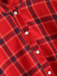 Alto Cuadros Cuello A Blusa Rojo Con UIqWOfHZ