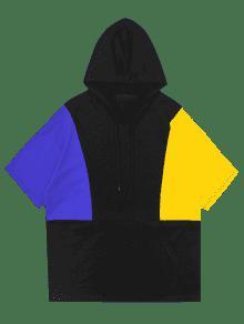 En De Negro Sudadera Bloque Con 2xl Relajada La Lateral Color Con Abertura Capucha qXUS0PwX