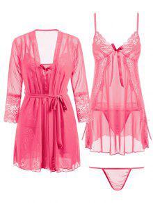 Lace Panel Mesh Babydoll and Kimono and G-string