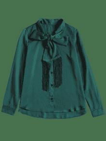 De Negruzco Flecos Con Larga Verde M Blusa Manga Corbata De pCqIwCxPv