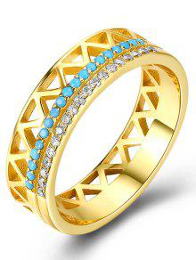 حجر الراين فضة مثلث البنصر - أزرق 7