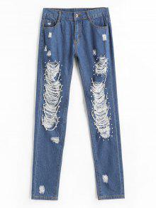 جينز عالية الخصر ممزق بسحاب - أزرق M