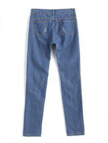 hohe taille zerrissene sicke jeans blau jeans l zaful. Black Bedroom Furniture Sets. Home Design Ideas