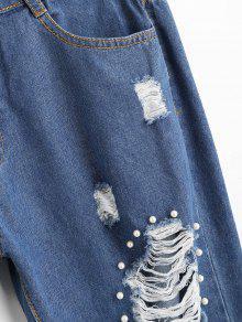 Hohe taille zerrissene sicke jeans blau jeans xl zaful - Zerrissene jeans damen ...