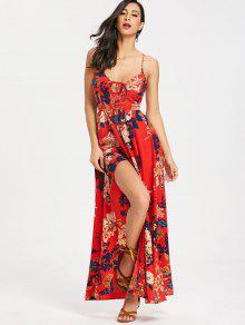 فستان ماكسي كامي طباعة الأزهار - أحمر L
