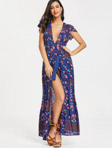 فستان ماكسي انخفاض القطع طباعة الأزهار - ازرق غامق L