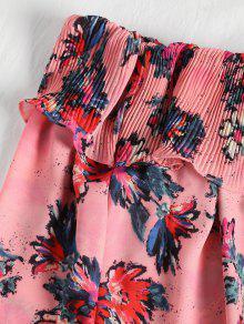 Floral M Floral Con Volado Vestido Hombros Descubiertos Plisado 0x8wfYqRY