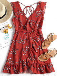 فستان طباعة الأزهار غارق الرقبة كشكش - أحمر M