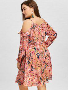 Tallas Vestido Rosa Con Grandes Estampado Hombros Descubiertos Y Xl De qYPCw6