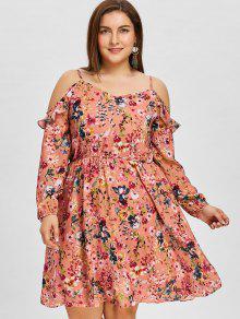 فستان مكشوف الكتفين مزين بطبعة ذو مقاس كبير - زهري 5xl