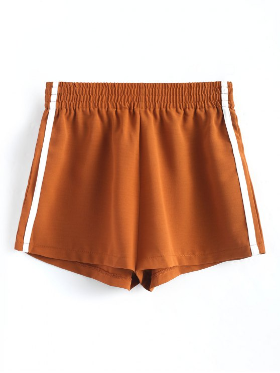 Smocked Waist Ribbons Trim Shorts - البني الفاتح L