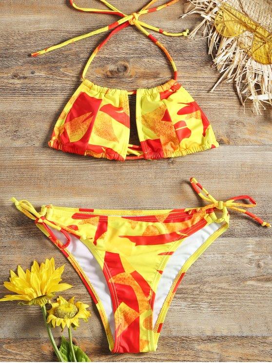 Schlüsselloch Patchwork Druck String Bikini Set - Gelb L