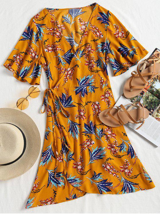 فستان مصغر طباعة الأزهار كيمونو الأكمام - خردل S