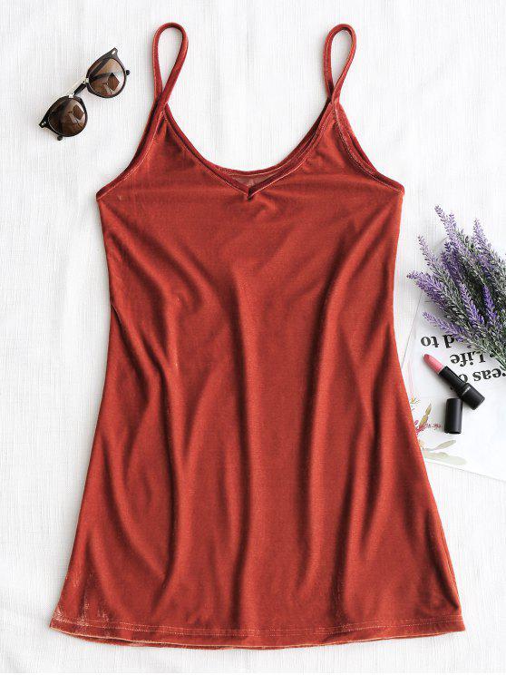 chic Velvet Cami Dress - BRICK-RED S