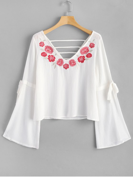 women's Cutout Floral Embroidered Blouse - WHITE S