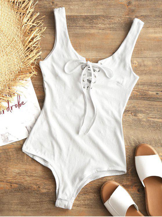 Snap Button Lace Up Swim Bodysuit - Branco M
