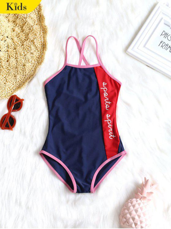 shop Color Block Graphic Kid Swimsuit - BLUE 7T
