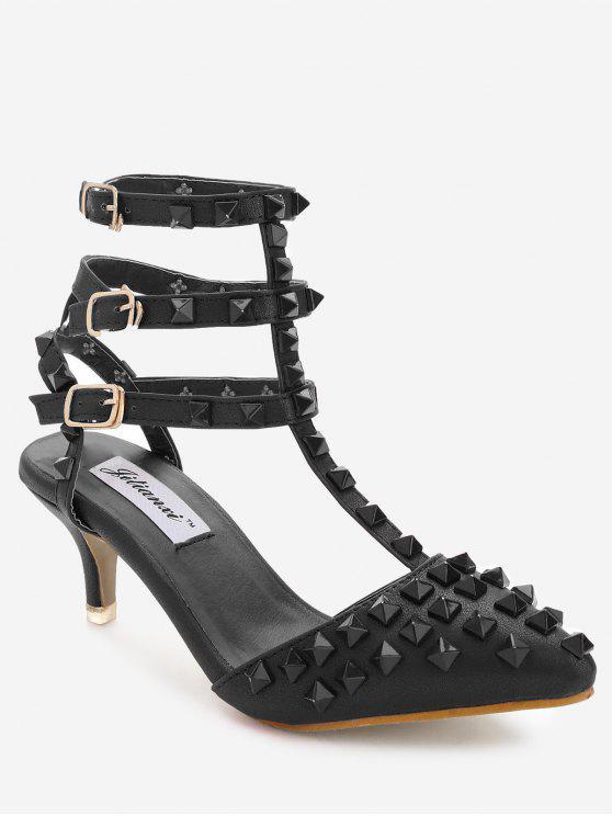 lady Ankle Wrap Multi Buckles Sandals - BLACK 38