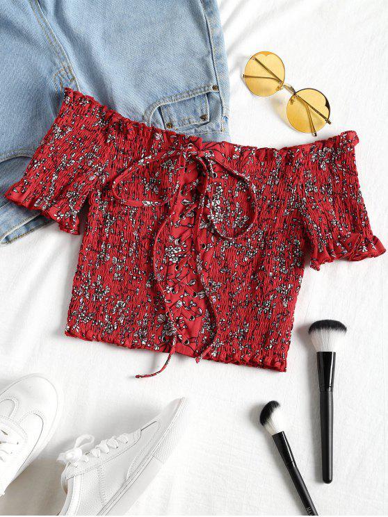 trendy Cropped Floral Shirred Off Shoulder Top - RED L