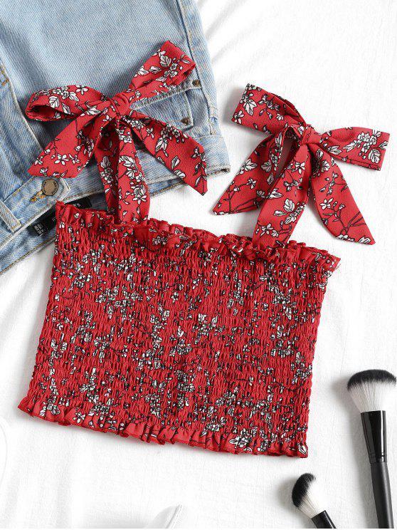 بلوزة قصيرة مزمومة مزينة بأزهار - أحمر M