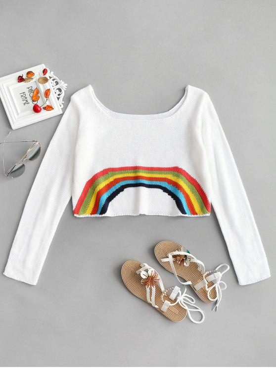 women's Rainbow Cropped Sweater - WHITE ONE SIZE