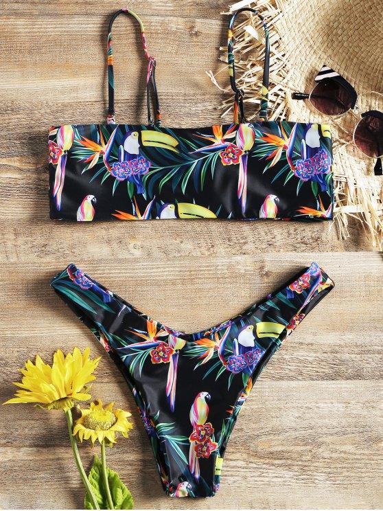 sale Flower and Bird Print Bralette Bikini Set - BLACK L