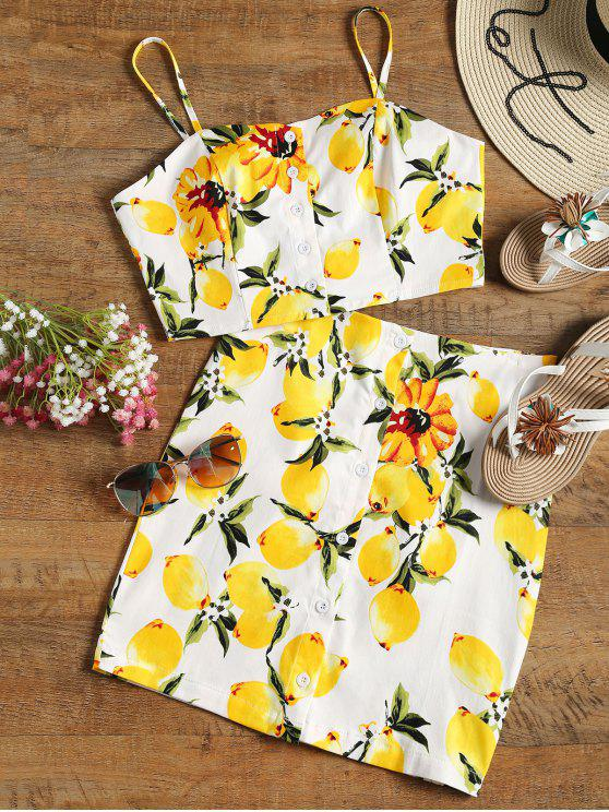 lady Button Up Lemon Top and Bodycon Skirt Set - WHITE S